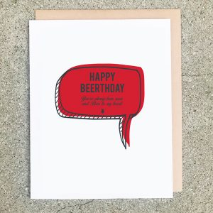 Beerthday Card Quote Red